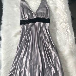 Speechless silver & black pleated halter top dress